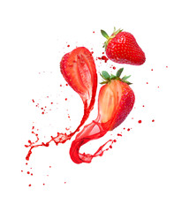 Obraz Juice splashes out from cutted strawberries on a white background - fototapety do salonu