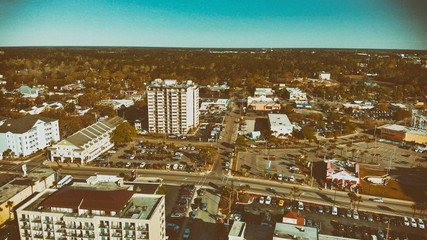 Beautiful aerial view of Myrtle Beach skyline on a sunny day, South Carolina