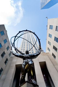 NEW YORK, USA - FEBRUARY 3, 2010: Rockefeller Center and Atlas statue in New York. Statue was created by sculptor Lee Lawrie and was installed in 1937.
