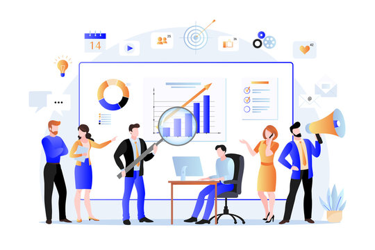 Project managers and business marketers analyzes data, develops product promotion strategy. Vector flat illustration