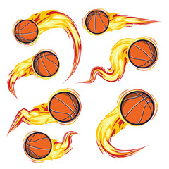 Basketball on the fire symbols speed set