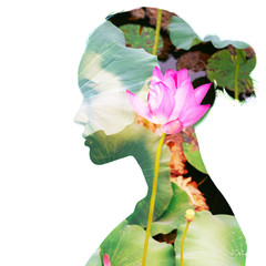 Double exposure portrait of beautiful girl in profile. Young woman and blooming lotus flower.