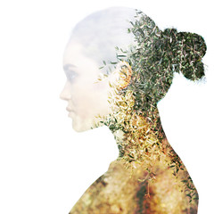 Zelfklevend Fotobehang Olijfboom Double exposure portrait of beautiful girl in profile. Young woman and olive trees.