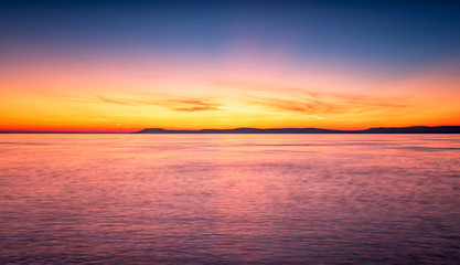 Colorful sunset over lake Balaton