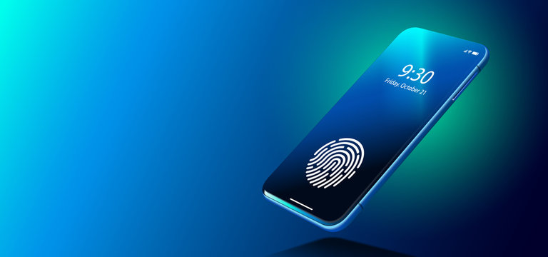 Isometric Black Smartphone With Security Fingerprint And Shadow On Dark Blue Background. Smartphone With Fingerprint Scanner Vector Eps10. Black Isometric Smartphone. Biometric Identification Concept.