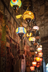 Colourful lamps in a bazaar in Sarajevo