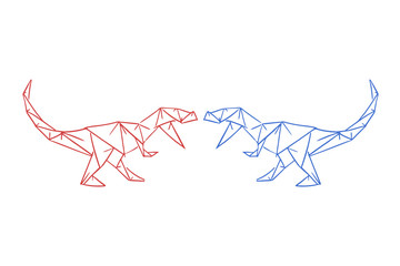 dinosaurs fighting draw