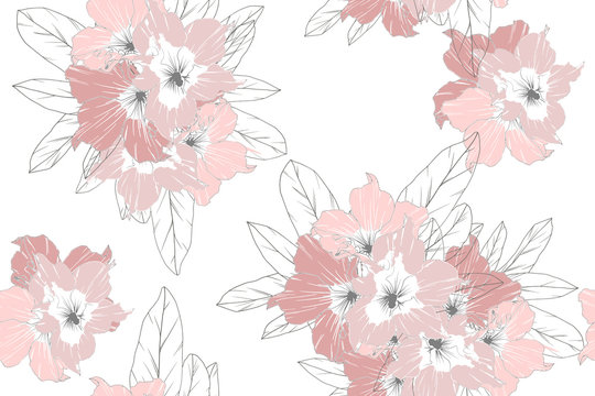 Seamless pattern of pink azalea flowers isolate on white background