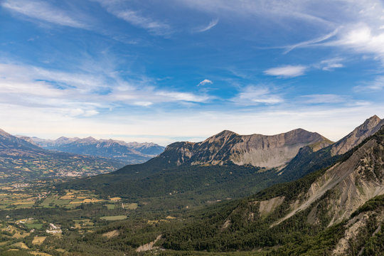 Le Noyer, Hautes-Alpes, France - View to the Champsaur valley from the Col du Noyer