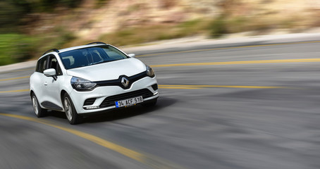 Fethiye / Turkey - 09.29.18: test drive of car Renault Clio on highway