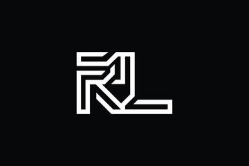 Initial RL LR modern monogram and elegant logo design, Professional Letters Vector Icon Logo on black background.