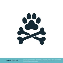 Paw Print Pet and Bone Icon Vector Logo Template Illustration Design. Vector EPS 10.