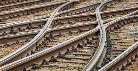 Poster Railroad Die Schienen kommen in einer Weiche zusammen