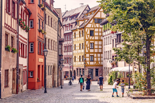 05 August 2019, Nuremberg, Germany: old town street with its traditional half-timbered houses is a popular tourist attraction in Germany.