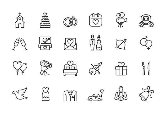 Minimal wedding icon set - Editable stroke illustration - 64x64 pixel perfect