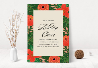 Christmas and Holiday Party Invitation with Floral Design Layout