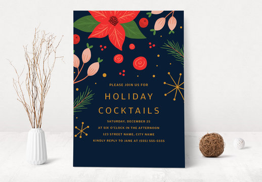 Christmas and Holiday Cocktail Party Invitation Layout