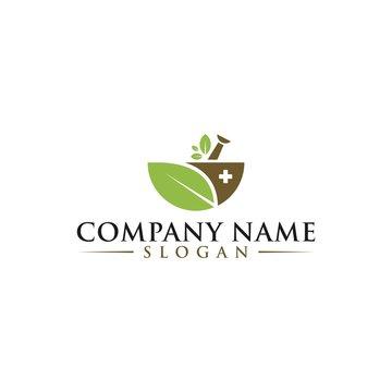 Natural Organic Eco Bio Green Logo design vector template. Cosmetics, Medicine, Pharmacy, SPA logotype mortar pestle concept icon.  S