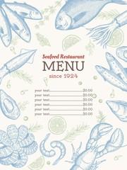Vector vintage seafood restaurant flyer. Hand drawn banner. Great for menu, banner, flyer, card, seafood business promote.