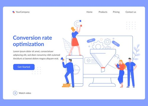 Conversion rate optimization. Sales funnel strategy, SEO optimization and sales statistical tests. Marketing service vector illustration. Social media network, digital business landing page template