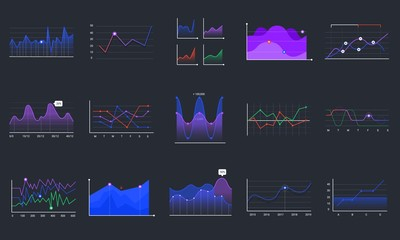 Fototapeta Linear graphcharts. Business graphic charts, line diagrams and business infographics elements vector set. Financial assets analysing. Investment statistics colorful histograms on black background