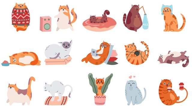 Adorable cats. Cute dancing cat, funny angry kitty and love cat vector illustration set. Domestic animal drinking coffee and playing. Comic fat pet in sweater, doing yoga and lying stickers