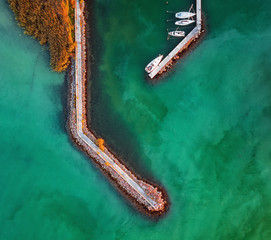 Aerial view on the port at lake Balaton
