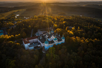 Svata Hora is an important Baroque complex and pilgrimage site on the hill (586 m) near Pribram. inside the high stone terrace stands the originally Gothic Church of the Assumption in 1660–1673.