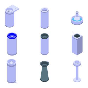 Drinking fountain icons set. Isometric set of drinking fountain vector icons for web design isolated on white background