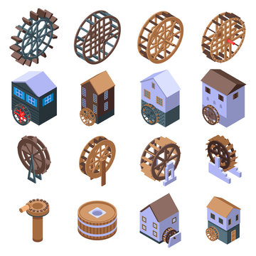 Water mill icons set. Isometric set of water mill vector icons for web design isolated on white background