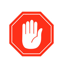 Hand stop icon vector sign symbol vector on white