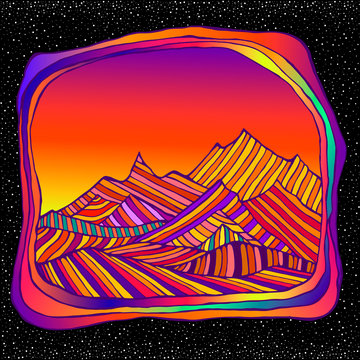 Psychedelic surreal landscepe with colorful mountains, isolted in space and stars bacground. Retro hippie style.