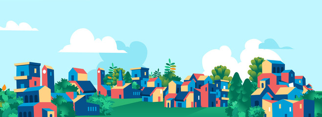 Cartoon town city village skyline vector illustration Fotomurales