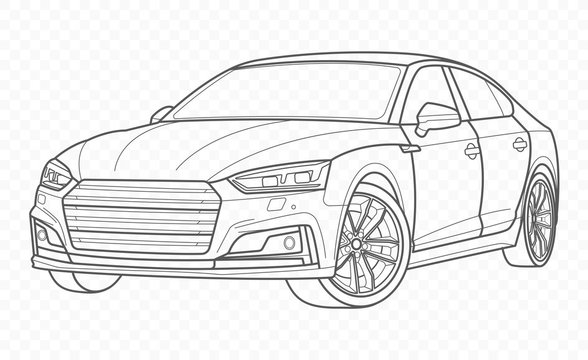 Vector car and automobile on transparent background. Hand drawn sketch american transport.