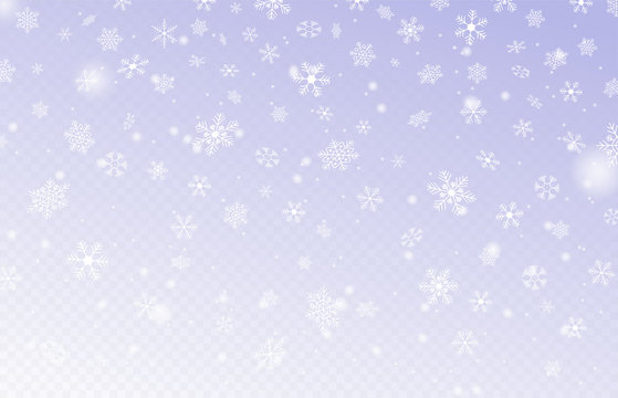 Heavy snowfall, snowflakes in different forms. Many white cold flake elements on transparent background. Snowflakes flying in the air. Snow background. Vector illustration