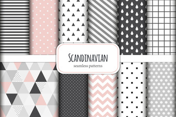 Tuinposter Kunstmatig Cute set of Scandinavian geometric seamless patterns in neutral palette colors, vector illustration