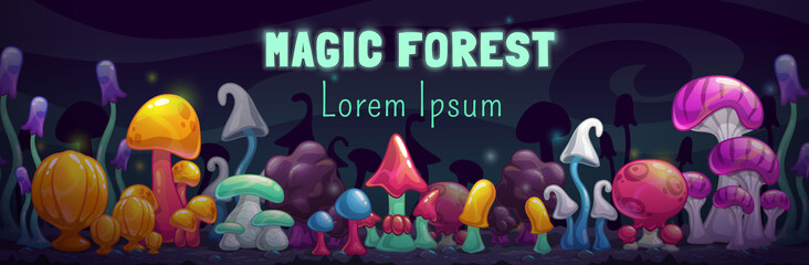 Magic forest scene. Unusual fantasy cartoon colorful mushrooms.