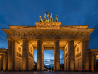 Beautiful view of the Brandenburg Gate at blue hour in a time of tranquility, Berlin, Germany