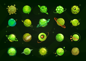 Different cartoon green alien planets set. Funny fantasy planet on the cosmos background.