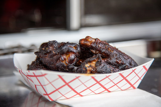 Very closeup Louisiana chicken wings horizontal