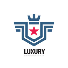 Luxury - concept business logo design. Abstract shield with wings, crown, star. Protection sign. Vector illustration.