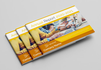 Annual Report Layout with Yellow and Gray Accents