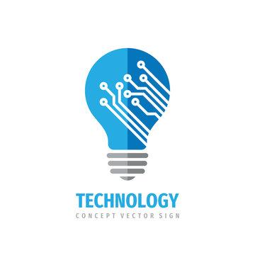 Technology lightbulb - concept logo design. Digital creative idea sign. Vector illustration.