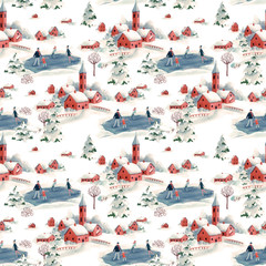 Watercolor vector seamless pattern winter snowy christmas time red house town landscape fir trees