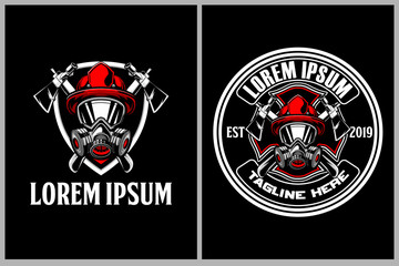 set of firefighters with axe and shield vector badge logo template