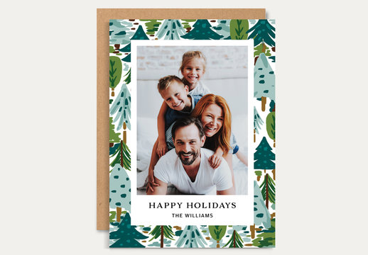 Holiday Card Layout with Christmas Trees