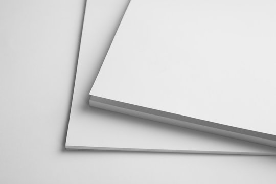 Blank books on white background, closeup. Mock up for design