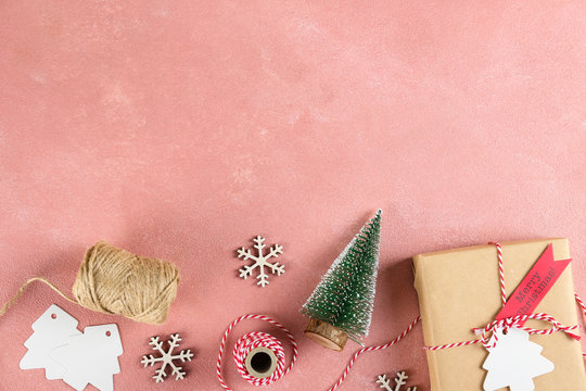 Christmas mood concept. Layout composition with traditional festive attributes, presents in vintage style wrapping. Winter holidays season. Background, copy space, close up, top view, flat lay.
