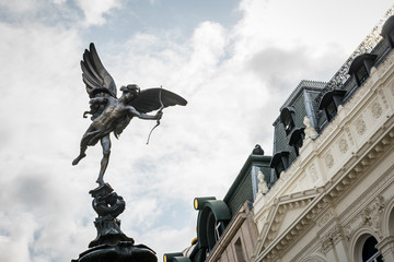 Shaftesbury Memorial Fountain in Piccadilly Circus, London