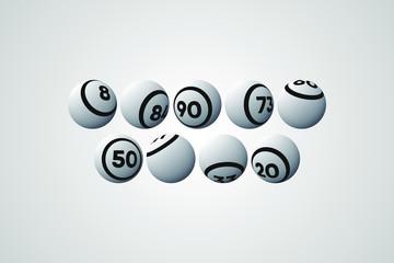 White Bingo Balls Vector Illustration